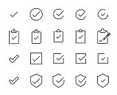 Premium set of check line icons. Simple pictograms pack. Stroke vector illustration on a white background. Modern outline style icons collection.