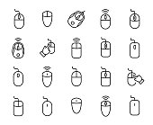 Premium set of computer mouse line icons. Simple pictograms pack. Stroke vector illustration on a white background. Modern outline style icons collection.
