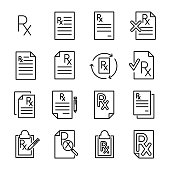 Premium set of prescription line icons. Simple pictograms pack. Stroke vector illustration on a white background. Modern outline style icons collection.