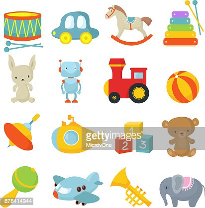 Preschool children toys isolated vector cartoon set : stock vector