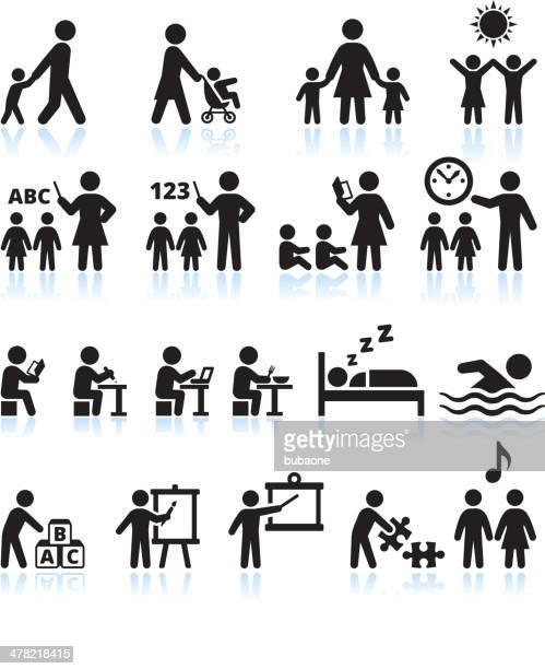Vorschulalter Sommer-camp und Kind Tagesbetreuung Vektor icon-set