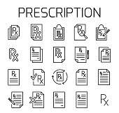 Prescription related vector icon set. Well-crafted sign in thin line style with editable stroke. Vector symbols isolated on a white background. Simple pictograms.