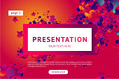 Presentation and landing page vector poster template. Abstract minimal background with smooth shape.