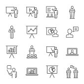 Presentation set of vector icons line style