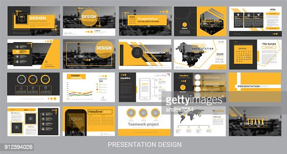 presentation template for promotion, advertising, flyer, brochure, product, report, banner, business, modern style on black and yellow background. vector illustration : stock vector