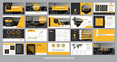 presentation template for promotion, advertising, flyer, brochure, product, report, banner, business, modern style on black and yellow background. vector illustration