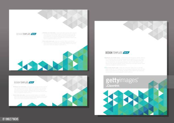Presentation template set with sample text layout green gray