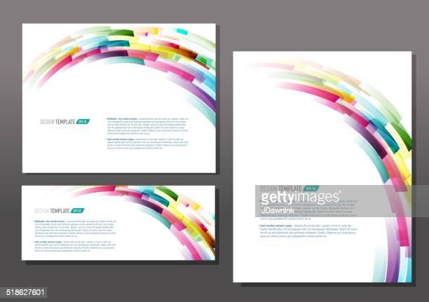 Modello di presentazione retrò set con testo di esempio di layout multicolore