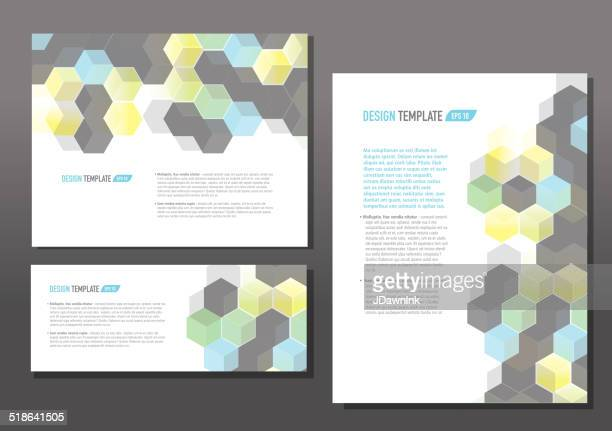 Presentation template set with sample text multi color hexagon
