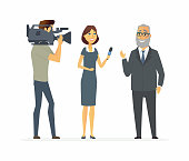 TV presenter having an interview - cartoon people character isolated illustration on white background. A young journalist woman, girl asking questions to a senior man, an operator shooting a program