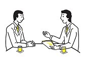 Businessman discussing, presenting, training, or explaining to his partner, team, workmate, or customer, at meeting table. Line and outline drawing design, simple style.
