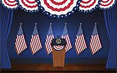President podium on stage with flagstaff on back and semi-circle flag on top. Open curtain stage with blue background and wooden floor. Vector illustration
