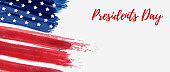 USA Presidents day background. Vector abstract grunge brushed flag with text. Template for horizontal banner.