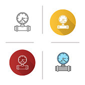 Pressure gauge flat design, linear and color icons set. Pipe manometer