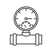 Pressure gauge linear vector icon. Thin line