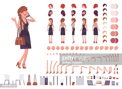 Pretty female office employee character creation set : stock vector