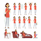 Pretty woman - vector cartoon people character set isolated on white background. Cute girl in casual clothes in different poses situations, at home, at work, having dinner, relaxing on a sofa