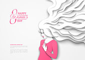 Pretty girl silhouette with paper cut long hair on white background. Vector Illustration. 8 March, International Womens Day.