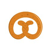 Pretzel icon. Flat illustration of pretzel vector icon isolated on white background