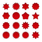 Price star burst shapes. Vector red bursting stars symbols isolated on white background, circle star badges or vector sunburst stickers