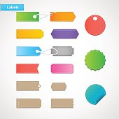 Price tags, labels of various shapes and colors.