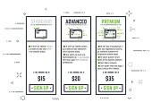 Thick line pixel graphic style pricing table for internet business or hosting provider with sign up button. Three different variations of folder with ranks and prices. Abstract lines and dots backgrou
