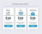 Vector Pricing table template in modern line style. Design element for website.