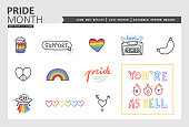 Drawn by hand vector icon set with pride month theme. Use the colorfull cliparts to highlight LGBTQ topics. There are 4 additional sets to support queer topics with even more icons.