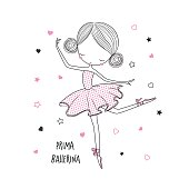 Prima ballerina. Surface design for kids . Vector graphic for kid's  fashion clothing. Use for print design, surface design, fashion kids wear