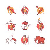 Primitive prehistoric caveman of ice age signs set. Thin line art icons. Flat style illustrations isolated on white.