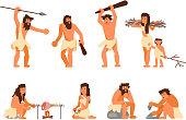 Stone age people icon set. Vector flat style design illustration of primitive people cavemen hunting, cooking, gathering brushwood, making stone tools isolated on white background.