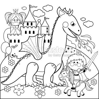 Príncipe De Proteger A Una Bella Princesa Del Malvado Dragón Blanco ...