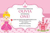 Princess Birthday Party Invitation with cute and simple style for your children.