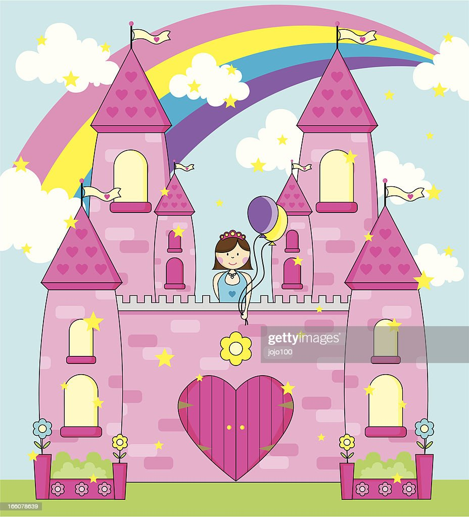 Princess Celebrating in her Fairytale Palace. : Vector Art