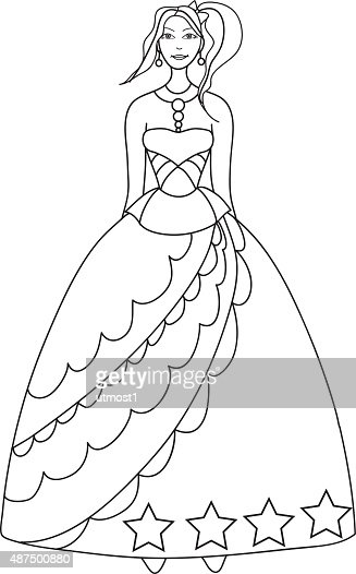 Princess Coloring Page For Kids Vector Art Thinkstock