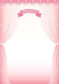 Illustration vector of cute princess room decorated with curtain on pink background design for frame and template.