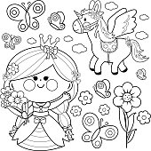 Beautiful Princess Holding Spring Flowers Unicorn And Butterflies Vector Set Black White Coloring
