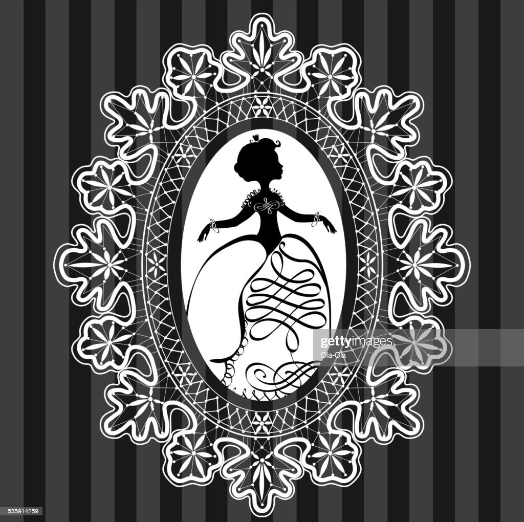 Princess in lace oval frame : Vector Art