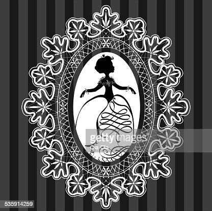 Princesa em renda moldura oval : Arte vetorial