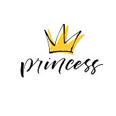 Princess lettering with crown. Ink illustration. Modern brush calligraphy. Isolated on white background.