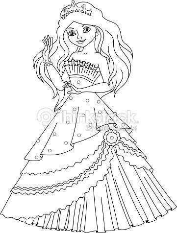 Página Para Colorear Princesa Sirena Arte vectorial | Thinkstock