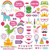 Princess party vector design elements and photo booth props set