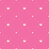 Princess vector pink background, polka dot pattern with crowns. Vintage seamless texture. Geometric shapes