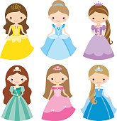 Vector illustration of princess design elements.