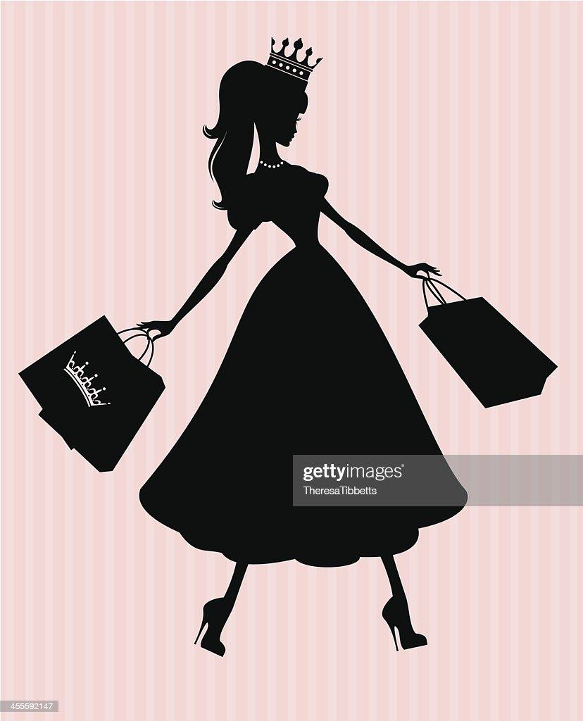 Princess Shopper Vector Art