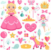 Princess with fairytale unicorn, wizard and their magic elements. Vector pictures set magic unicorn and wizard illustration