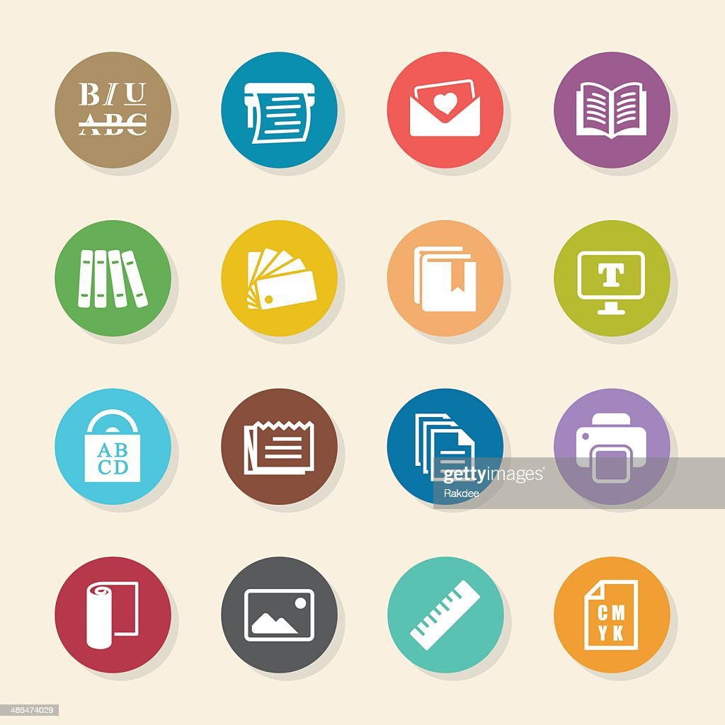 Color circle art publishing - Print And Publishing Icons Color Circle Series Vector Art