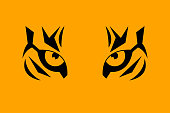 Print eye of tiger with striped fur. Vector illustration