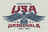Print for t-shirt with bald eagle illustration and text 'Handcrafted USA Originals'