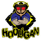 Print on T-shirt 'hooligan' with a  owl image. Vector illustration.